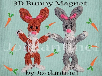 New 3D Bunny Rabbit Magnet Figure. Charm - Monster Tail or Rainbow Loom Easter