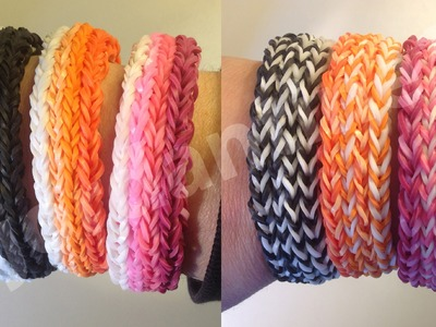 New Rainbow Loom Long Cross Quad Stripe Bracelet - Reversible