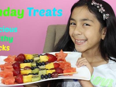 Rainbow Fruit Kabob Healthy Snacks| Fruit Skewers Sunday Treats|B2cutecupcakes