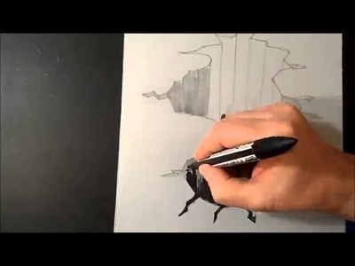 Trick Art On Paper Drawing 3D Hole Time Lapse - 3D çizim