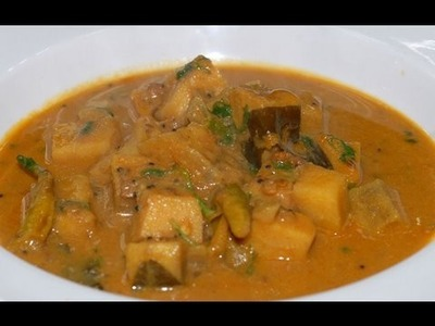 Yam cooked with Tamarind Gravy - By VahChef @ VahRehVah.com