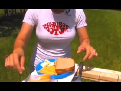 1 MINUTE GRILLED CHEESE SOLAR COOKING Parabolic Mirror Concave mirror