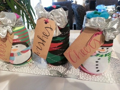 "CHRISTMAS ""SOCK"" CANDY JAR DIY} USING DOLLAR TREE ITEMS"