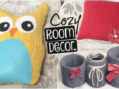 DIY COZY ROOM DECOR for Fall, Winter, Christmas, Holidays. Upcycle Old Sweaters!