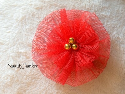 DIY: How to make a circular Tulle flower hair clip