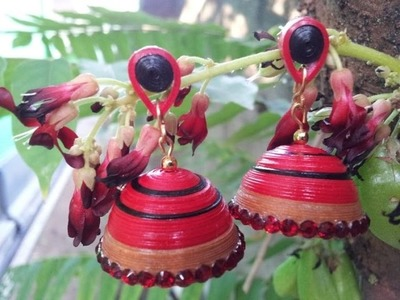 Double Colour Paper Quilled Jhumka  malyalam Tutorial Part 2. .
