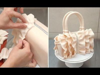 How To Make a Ruffle Handbag Cake  by CakesStepbyStep