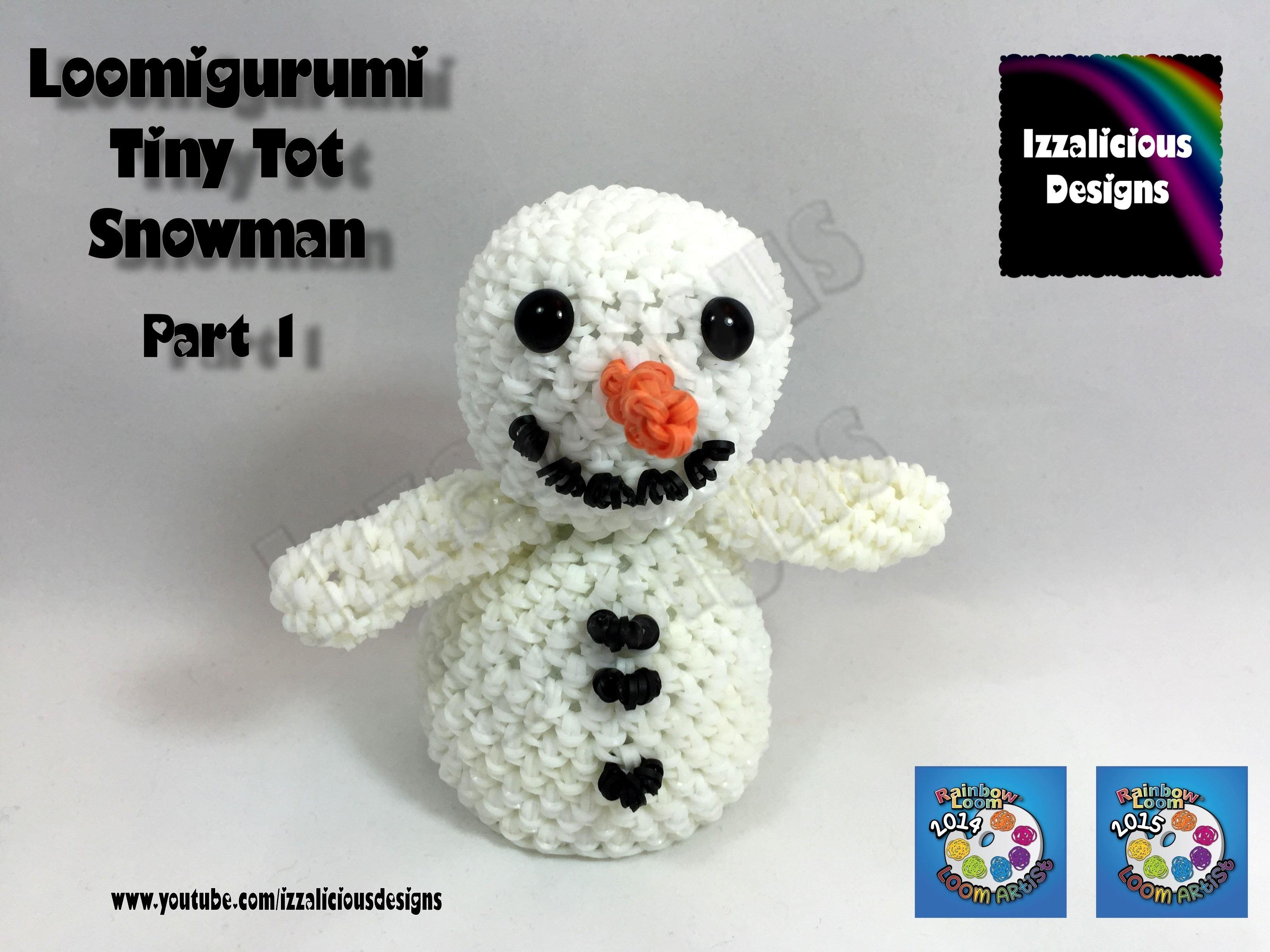 Loomigurumi Snowman (Pt 1) Tiny Tot Christmas Figure - amigurumi w. Rainbow Loom Bands