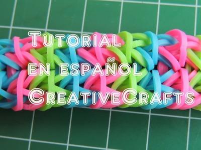 Tutorial pulsera de gomitas Double Forward Rhombus. Rainbow Loom Double Forward Rhombus Bracelet.