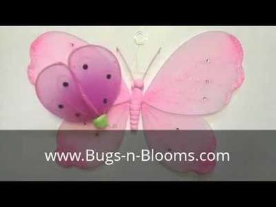 Bugs-n-Blooms Shimmer Hanging Butterfly Wall Ceiling Decor : Dragonfly : Ladybug : Mobile