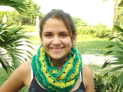 Crochet Two Color Scarf, Combination With The Hat