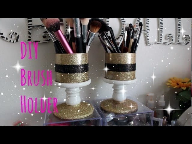DIY Glitter Brush Holder and How to Clean Out Used Bath and Body Works Candle Jars