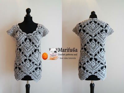 How to crochet top tunic from motifs pattern tutorial