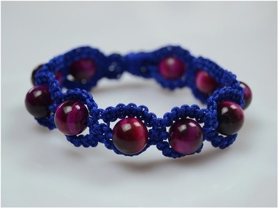Make Easy Square Knot Macrame Shamballa Style Bracelet