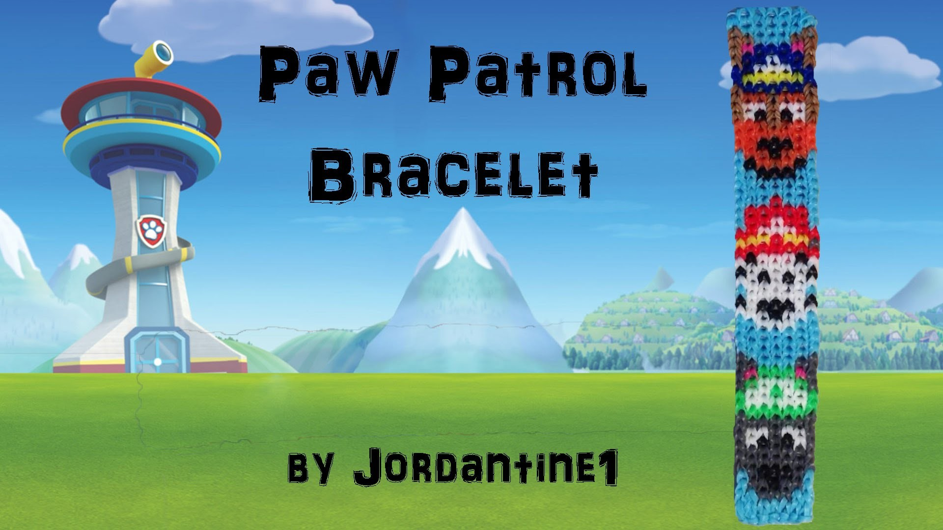 New Paw Patrol Dog Bracelet- Alpha Loom.Rainbow Loom -Police German Shepherd. Firefighter Dalmation