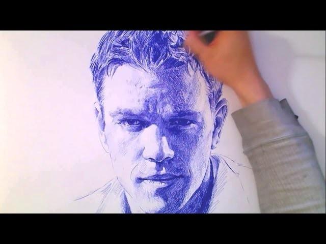 Portrait with BALL POINT PEN - Damon. Bourne - Theportraitart