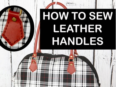 Sewing leather handles. Hand sew leather