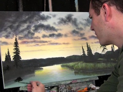 Sunset painting in progress, painting lessons available at http:.www.timgagnon.com