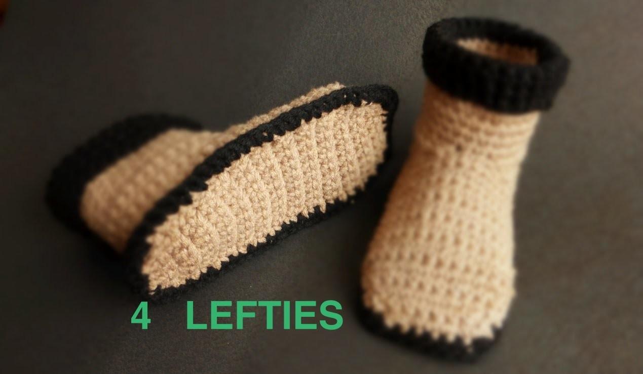 Watch How 2 Crochet Soles 4 Slipper Boots - PART 1.2  (4 LEFTIES)