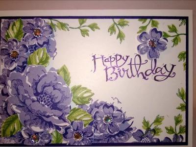 Birthday Card - Stippled Blossoms