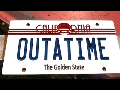 DIY CNC Router - Back to the future number plate OUTATIME for the EEVblog