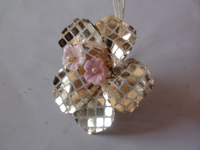Flower making with gold glitter fabric