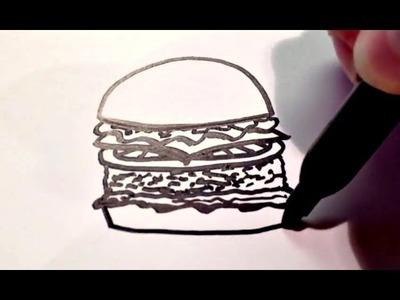 How to Draw a Cartoon Hamburger