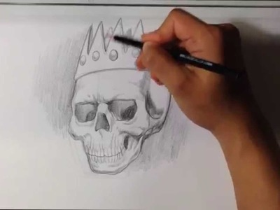 How to Draw a Skull with a Crown - Skull Drawings - Tattoo Art