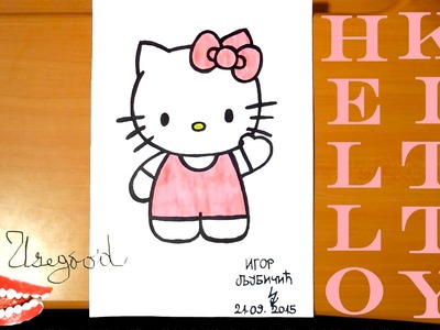 How to draw cute HELLO KITTY Easy Full Body Art for kids, draw easy stuff but cool | SPEED ART
