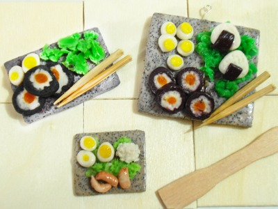 Japanese Miniature Food Tutorial + Granite clay tutorial | Sushi Para Muñecas (Porcelana fría)
