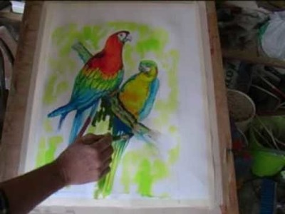 Painting Macaws using Acrylic Inks.
