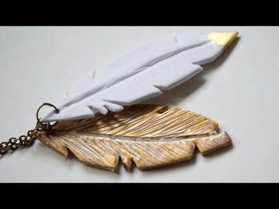 Polymer clay feather pendant