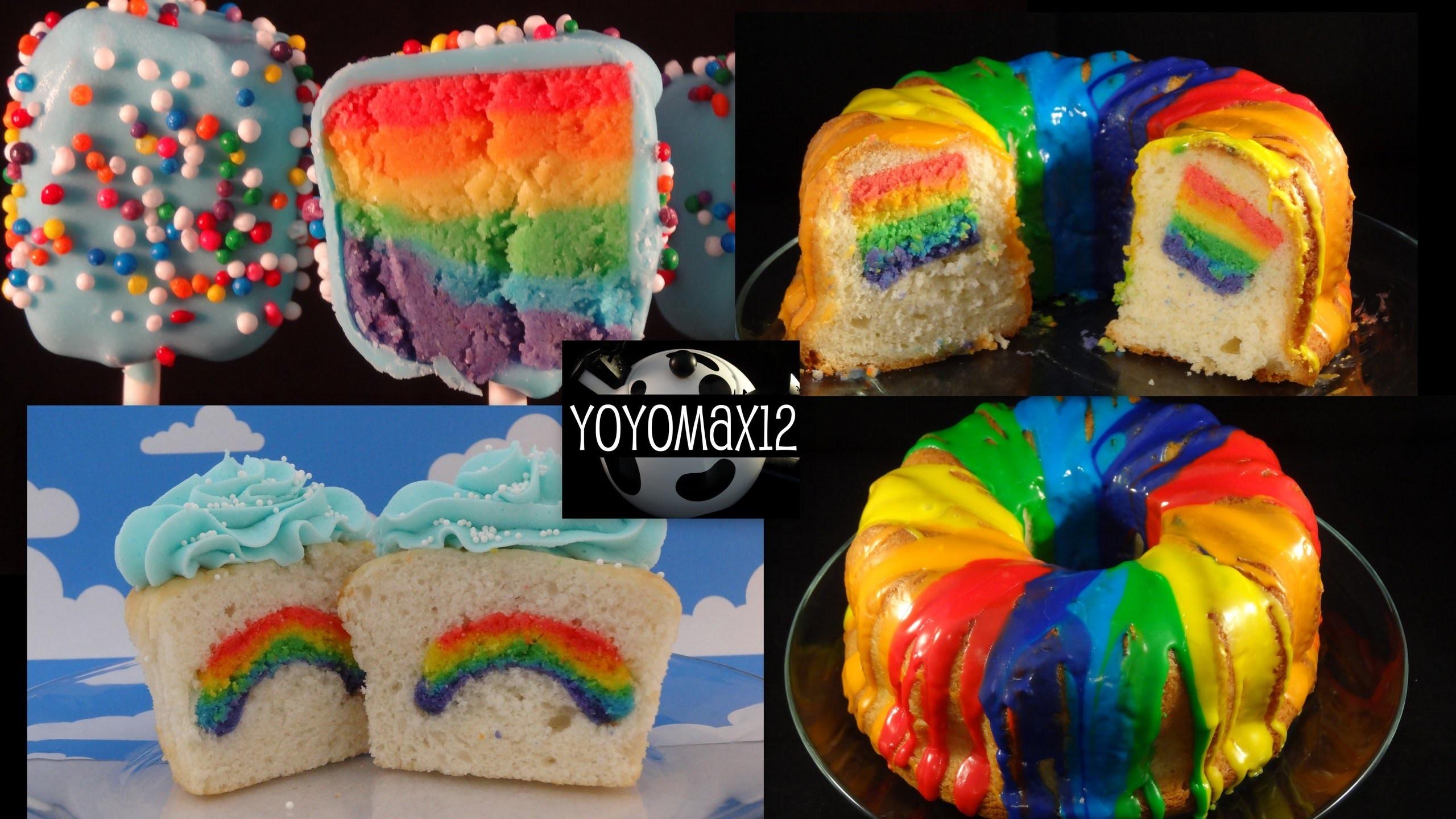 Rainbow Inside Cakes! Poundcake, Cupcakes, Cakepops -with yoyomax12