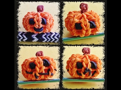 Rainbow Loom - Design your own Halloween Charms 3D Jack-o-lantern. Pumpkin with loom bands
