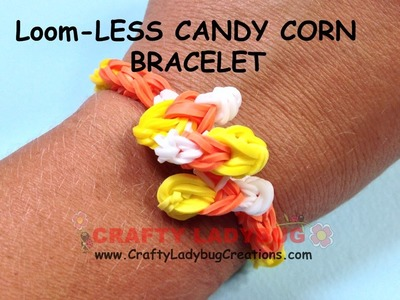 Rainbow Loom-LESS CANDY CORN BRACELET HALLOWEEN Series EASY Tutorials.How to Crafty Ladybug