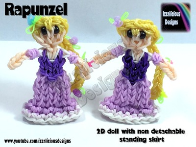 Rainbow Loom Rapunzel.Tangled Princess Action Figure.Charm - 2D Standing Doll