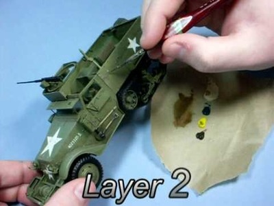 Weathering olive drab - part 2: oils in layers