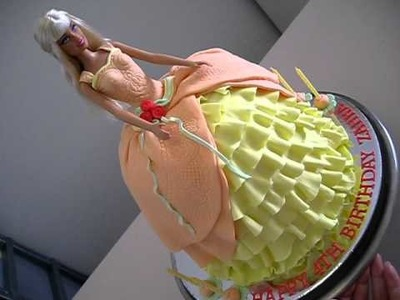Barbie Princess Doll Cake (Orange & Yellow Colour)- for how to make my doll cakes go to my channel)