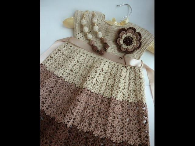 Crochet dress  How to crochet an easy shell stitch baby. girl's dress for beginners 6