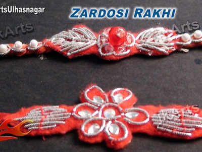 DIY How to make Zardosi (Zardozi) rakhi for Raksha Bandhan - JK Arts 541