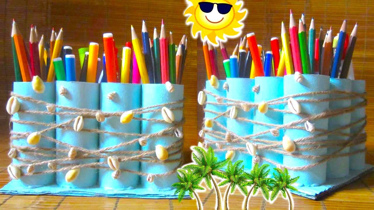 DIY Pencil Holder Recycling Toilet Paper Rolls   Back to School 2015