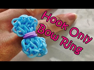 Rainbow Loom Bow Charm. Ring using only the hook and Loom Bands