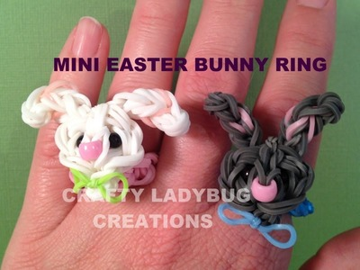 Rainbow Loom Charm MINI EASTER BUNNY RING How to Make by Crafty Ladybug