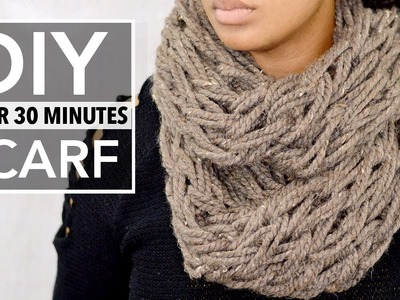 EASY DIY INFINITY SCARF ARM KNITTING (LESS THAN 30 MINUTE TUTORIAL)