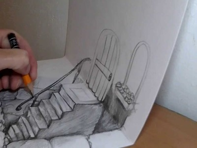 How to draw 3D stairway illusion on two pages