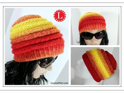 LOOM KNITTING HAT Ombre Beanie Pattern for Men and Women made on the Extra Large 40 - 41 peg loom