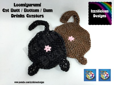 Loomigurumi Crochet Cat Butt | Bottom | Bum Drinks Coaster using Rainbow Loom Bands
