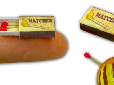 Miniature doll matchbox and tiny matches tutorial - Dollhouse DIY