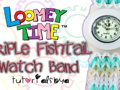 NEW Loomey Time Watch Triple Fishtail Band Attachment MONSTER TAIL Rainbow Loom Tutorial + BLOOPERS!