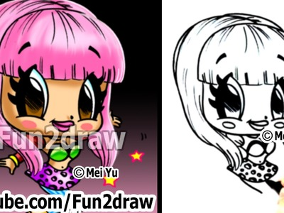 Nicki Minaj Chibi Drawing Tutorial - Cute Easy Cartoon Drawing - How to Draw - Fun2draw